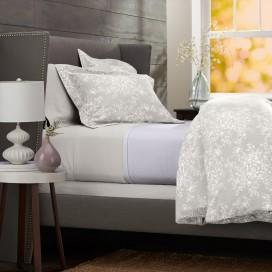 Pinzon Lightweight Cotton Flannel Duvet Cover - Full/Queen, Floral Grey