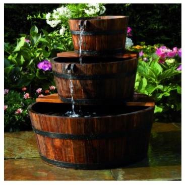 Garden cascade set, 3 wooden barrels, Ubbink