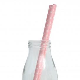 250 Light pink polka dots paper straws