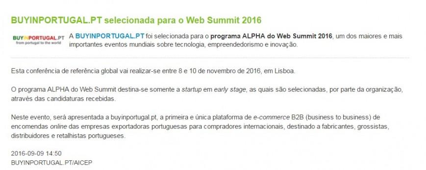 News @AICEP Portugal Global - BuyinPortugal.pt selecionada para o Web Summit